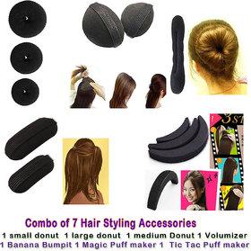 Combo Of 7 Hair Accessories 3 Donuts + 1 Magic Puff Clips + 1 Volumizer + 1 Banana Bum