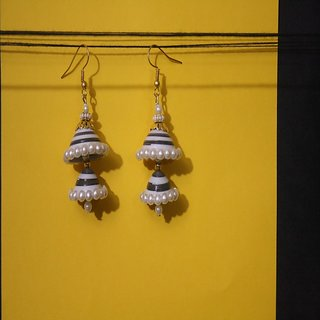White and Black Quilled Jhumkas