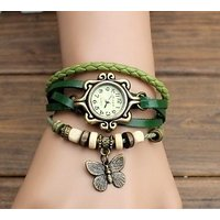 Women Leather Vintage Bracelet Watch New Style Funky Woman Watch GREEN