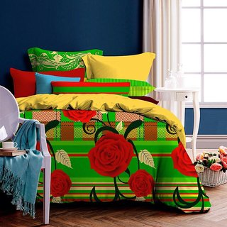 Designer Polycotton Double Bed With 2 Pillow Covers