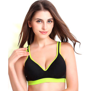 PrivateLifes Black Neon Lime Push Up Sports Bra
