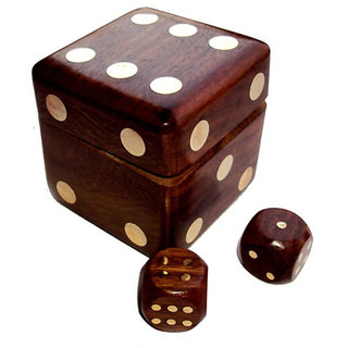 Buy Onlineshoppee Wooden Dice Shape Dice Box With 5 Dice Online