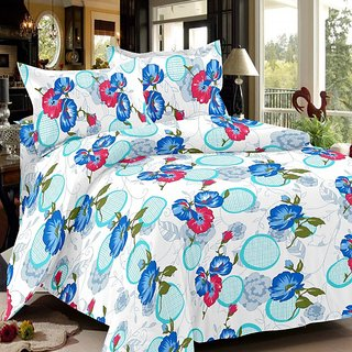 India Furnish 100 Cotton Satin Weave Flower Design Double Bedsheet Set with 2 Pillow Covers Blue  Turquoise Color
