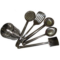 Stainless Steel Cutlery Holder + 5pcs. Stainless Steel Skimmer Set - Combo Pack