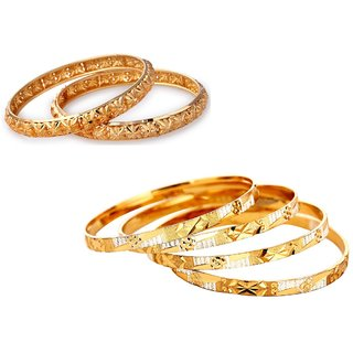 Vedika Jewellery Golden Pack Of 4 +2 Bangle Set COMBO