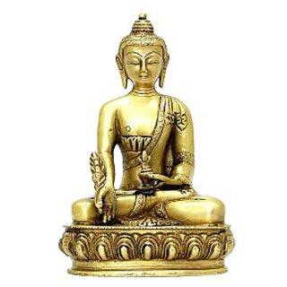 Medicine Buddha On Lotus Flower Base Golden Finish
