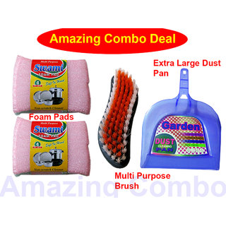 Combo - 1 Foam Pad + XL Dust Pan With Multi-purpose Brush