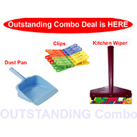 Combo - Dust pan + Kitchen Hand Wiper with 12 Pcs Clips