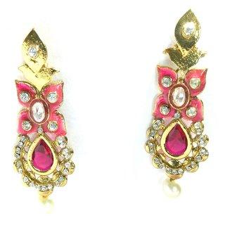 Fashion Pitaraa Traditional Pink Copper  Drop Earrings for Women