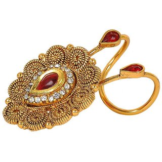 Maayra Posh Maroon Gold Indian Ethnic 14 Size Finger Ring