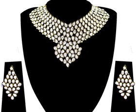 Zaveri Pearls Silver Plated Multicolor Alloy Necklace Set For Women