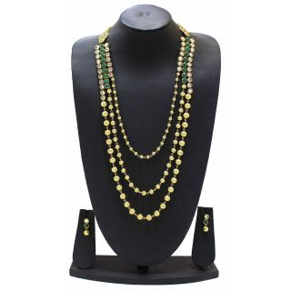 Zaveri Pearls Three Layer Haram Necklace Set -ZPFK3467