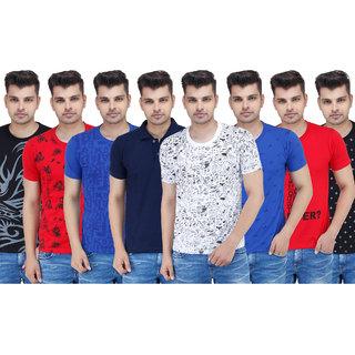 Stylogue Mens Multicolor Polo Neck Tshirt (Combo of 8)