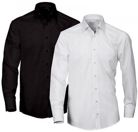 Grahakji Men's  Regular Fit Formal Poly-Cotton Shirt Pack of 2