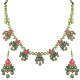 Designer Red, Golden & Green Necklace Set
