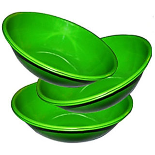 King International- Stainless Steel Serving Bowl Green Color/Pasta Bowl/Salad Bowl Set Of 3 Pcs
