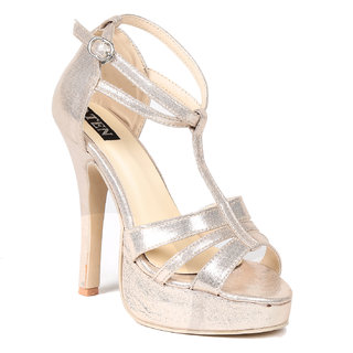 Ten Gold And Silver Synthetic Stilettos (TENSANGLZGLD02) at shopclues
