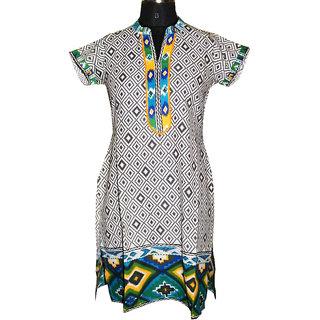 Faten Multi color short sleeves kurti