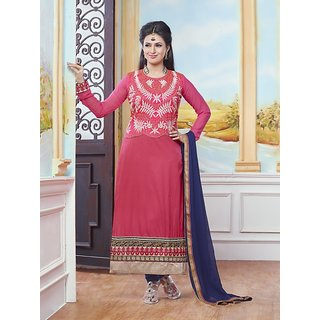 Sareemall Pink Embroidered Semi-Stitched Suit with Matching Dupatta 4NZK908