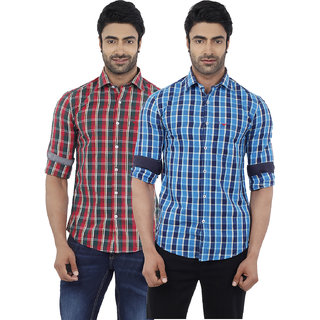 Lovely Dennis Lingo Men's Checkered Red and Blue Full Sleeves Formal Shirts ( Pack of 2 )