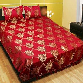 Sns Ethnic Maroon Polyester  Double Bedsheet
