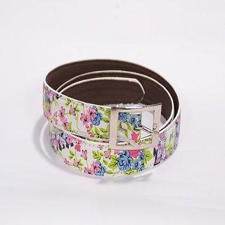 Women white flower print belt