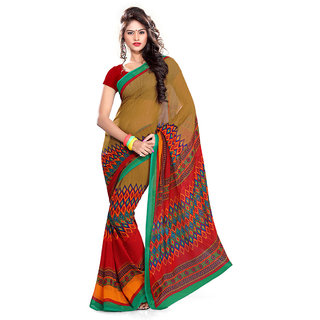 Ethnic Queen Georgette Brown color Saree