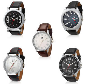 Rico Sordi Round Dial Multicolor Leather Strap Quartz Watch For Men (Set Of 5)