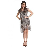 Raabta Fashion Black Animal Midi Dress For Women