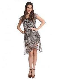 Raabta Fashion Black Animal Midi Dress For Women