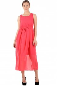 Raabta Fashion Pink Plain Maxi Dress For Women
