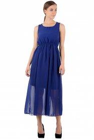 Raabta Fashion Blue Plain Maxi Dress For Women