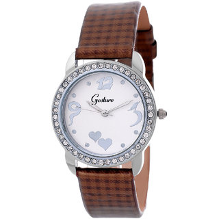 Gesture Round Dial Brown Leather Strap Womens Watch
