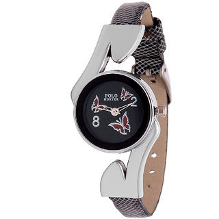 Polo Hunter Round Dial Black Leather Strap Womens Watch