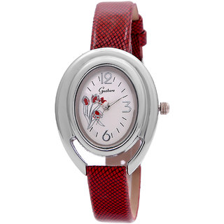 Gesture Oval Dial Red Leather Strap Womens Watch