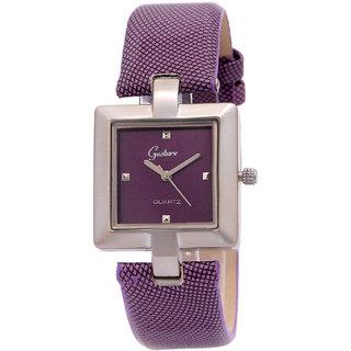 Gesture Square Dial Purple Leather Strap Womens Watch
