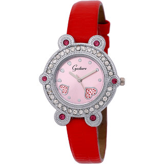 Gesture Round Dial Red Leather Strap Womens Watch