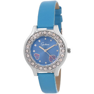 Gesture Round Dial Turquoise Leather Strap Womens Watch