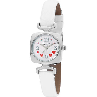 Gesture Round Dial White Leather Strap Womens Watch