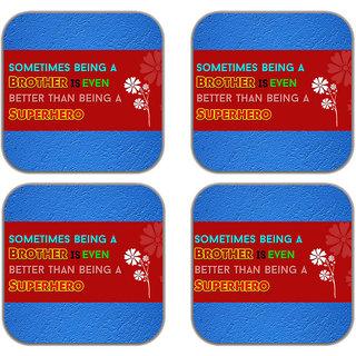 meSleep Rakhi  Quotes Wooden Coaster-Set of 4