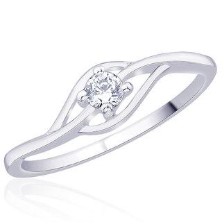 Peora Sterling Silver Rhodium Wavy Solitaire Cubic Zirconia Ring Pr5152
