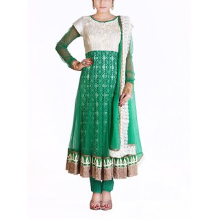 Almaree - White & Green - Stitched Dress Piece - Embroidered Anarkali