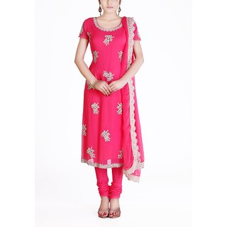 Almaree - Coral Georgette Stitched Dress Piece With Silver Embroidery