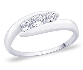 Peora Silver Elegant Three Stone Ring Pr5058