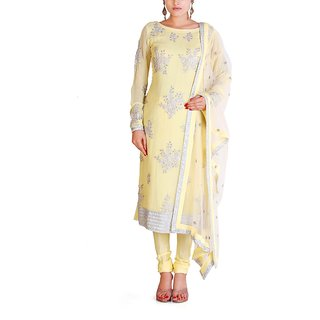 Almaree - Yellow & Off White - Stitched Dress Piece - Silver Embroidery