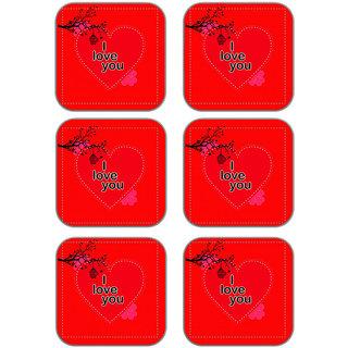 meSleep Love U Wooden Coaster-Set of 6