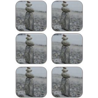 meSleep Pebble Stones Wooden Coaster-Set of 6