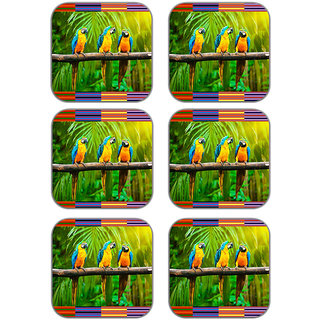 meSleep parrot Wooden Coaster-Set of 6