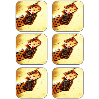 meSleep Poker Wooden Coaster-Set of 6