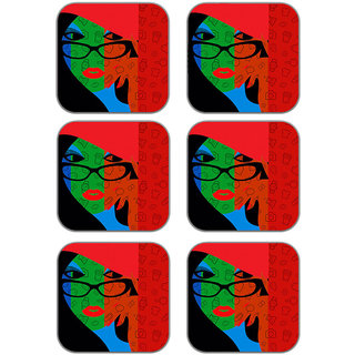 meSleep Abstract Face Wooden Coaster-Set of 6